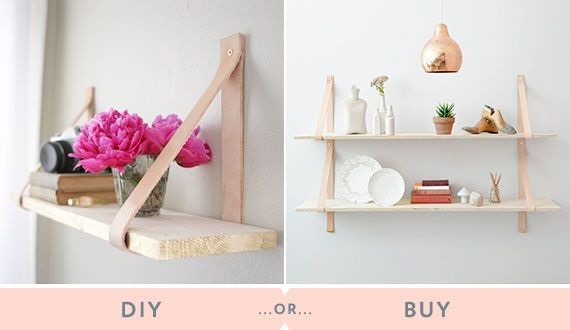 Crafty folks: This tutorial for leather strap shelves from Camille Styles will make your home a wee bit chicer AND you'll get more storage space to boot – a double whammy! Not-so-crafty…
