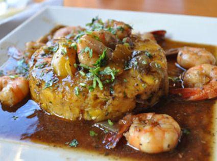 Yum... I'd Pinch That! | Plantain Mash (Mofongo) w Puerto Rican Shrimp