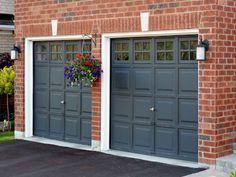 dark red brick house with black shutters black garage door - Google Search