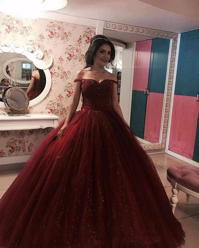 Find More Prom Dresses Information about Burgundy Ball Gown Long Prom Dresses 2017 Off the Shoulder Straps Fully Beaded Bodice Sparkly Princess Prom Gowns Custom Made,High Quality gown wedding,China dress shirt french cuff Suppliers, Cheap dress classic from cecelle store on Aliexpress.com