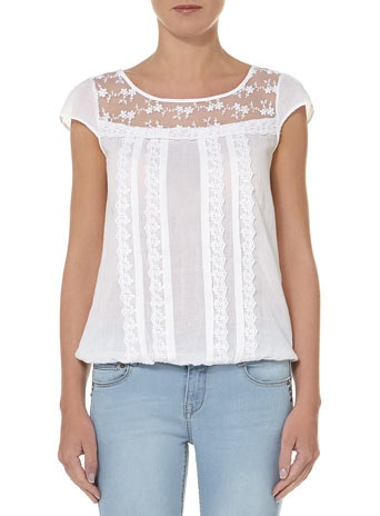 White tee with lace yoke