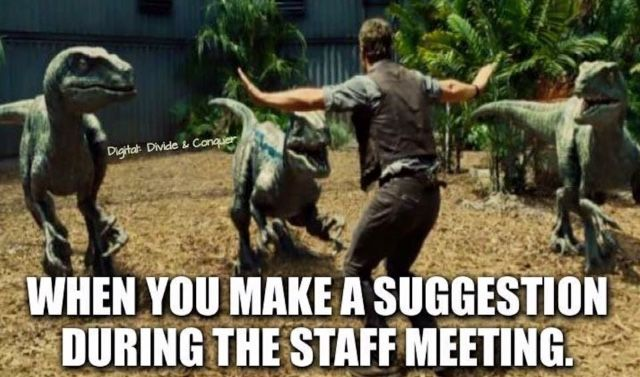The other teachers' faces when... someone makes a suggestion during a staff meeting.