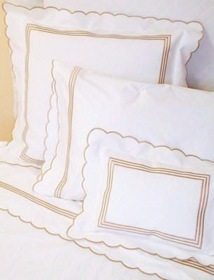 3 Line Scallop Embroidered Luxury Bed Linens always look timeless. Embroidered and monogrammed duvet covers, coverlets, sheets and shams. http://www.bellalino.com/Embroidered%20Bed%20Linens/3line%20scallop.htm