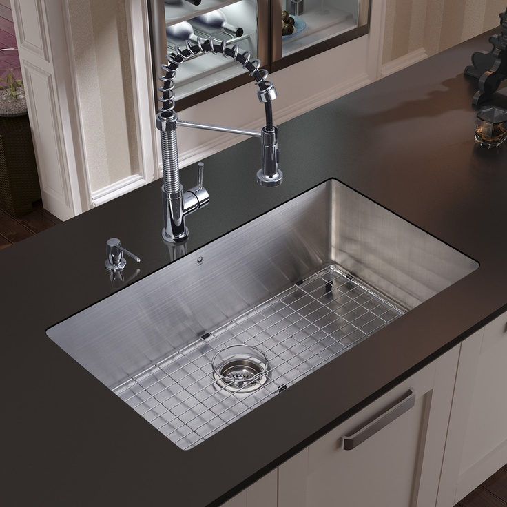 Vigo, , Farmhouse Stainless Steel Kitchen Sink Faucet Colander Strainer And  Dispenser