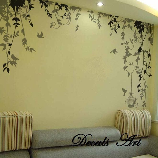 Vines vinyl wall sticker wall decal tree decals wall for Christmas wall mural plastic
