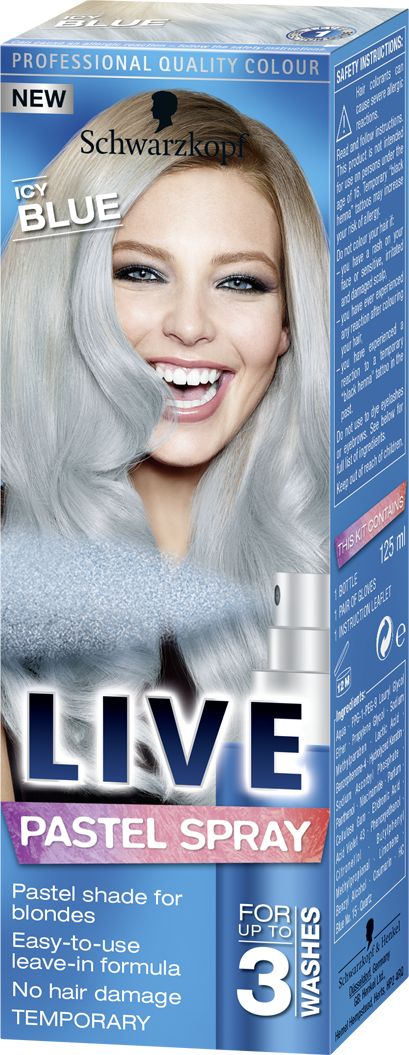 LIVE Pastel Spray Icy Blue, blue wash out hair dye
