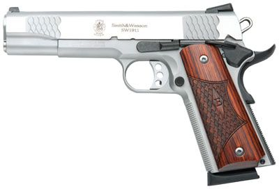 "Pro's Choice Sporting Goods | Smith & Wesson 1911 E Series 45 ACP 5"" 8+1 Laminate Wood Grip Stainless Finish"