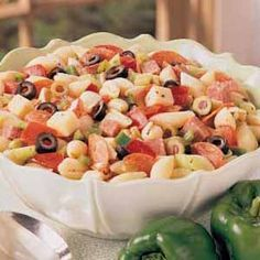 I make this every summer. My sister-in-law found it from All Recipes listed as Antipasto Pasta Salad submitted by Dayna. 1 lb seashell pasta 1/4 lb Genoa salami, chopped 1/4 lb pepperoni sausage, ...