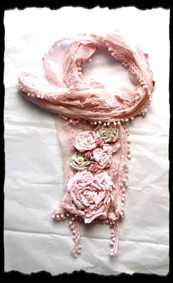 Shabby pink scarf, Boho wrap RESERVED for SUZY, french romantic clothing, altered couture, cottage rose, true rebel clothing