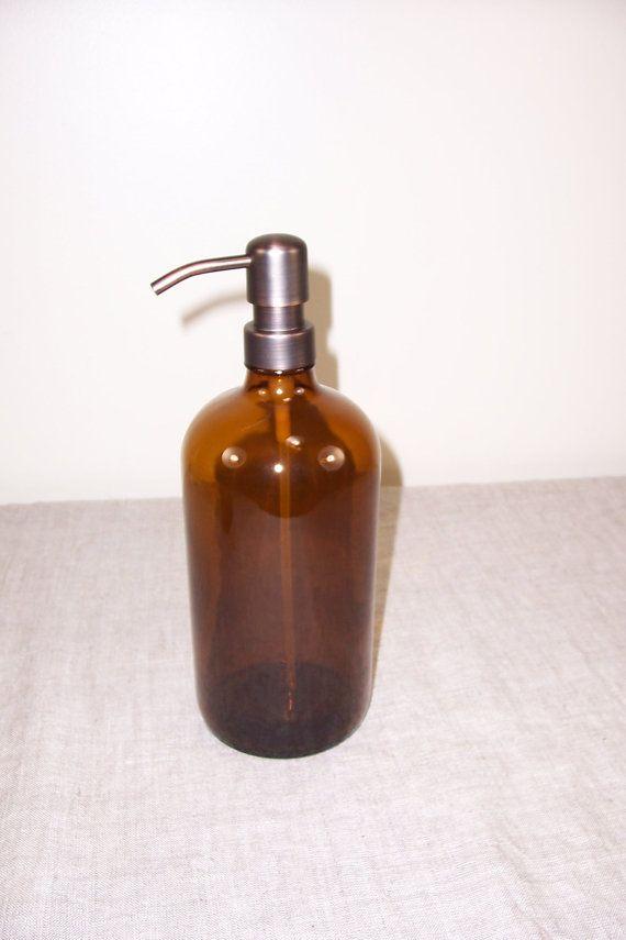 Vaso de 32 onzas botella jabón dispensador baño cocina bomba marrón vidrio Metal champú Spray recargable contenedor reutilización almacenaje líquido ámbar