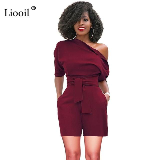 38b7e14b695 Liooil Sexy Club Plus Size Strapless Lace Up Rompers Womens Jumpsuit Shorts  Short Sleeve Black Blue
