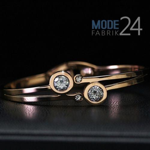 Damen-Edelstahl-Armband-Armspange-Armreif-Rose-Rosegold-Zirkonia-Steel-Schmuck
