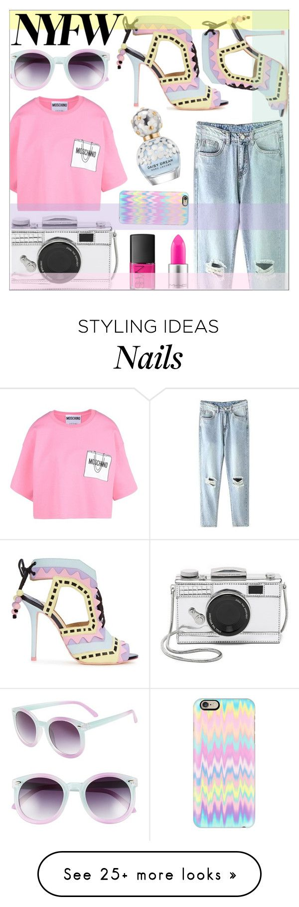"""Crazy Pastel Colors"" by sonny-m on Polyvore featuring Sophia Webster, MAC Cosmetics, Marc Jacobs, Moschino, Kate Spade, NARS Cosmetics, Casetify, Tildon, women's clothing and women"