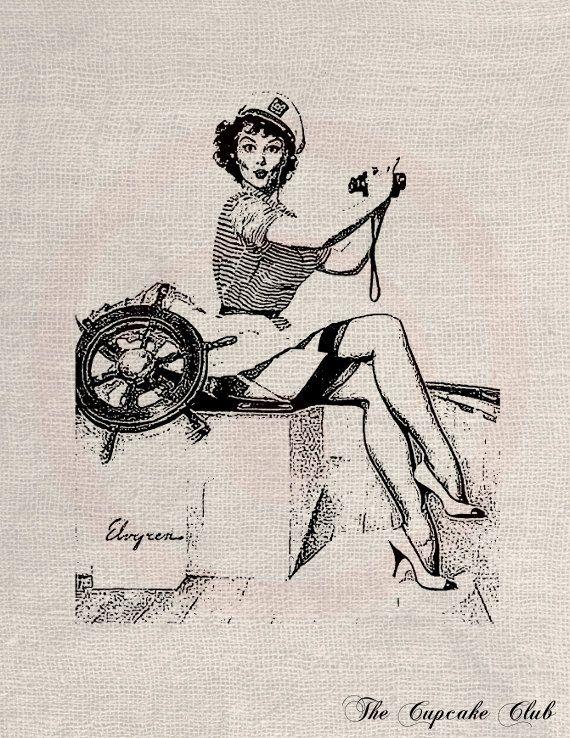 Clip Art disegni trasferire File digitale Vintage Download fai da te Scrapbook Shabby Chic cuscino moda Pin Up Sailor donna vela n. 0333