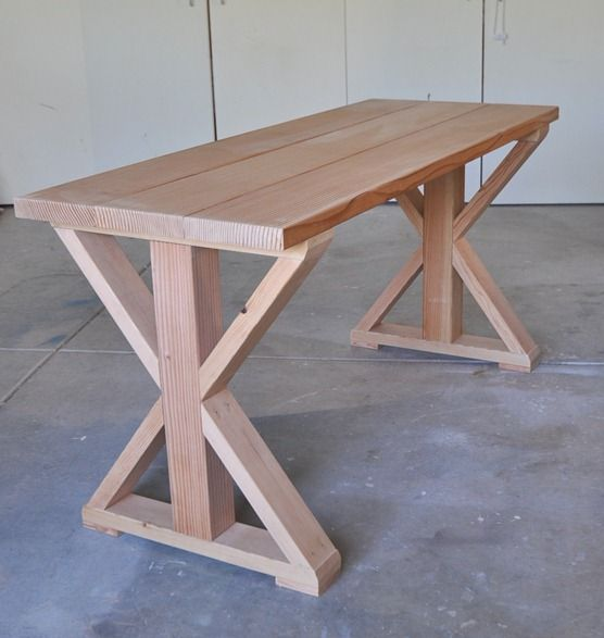 X design table (before stain). Would love this as work table outside by [censationalgirl].
