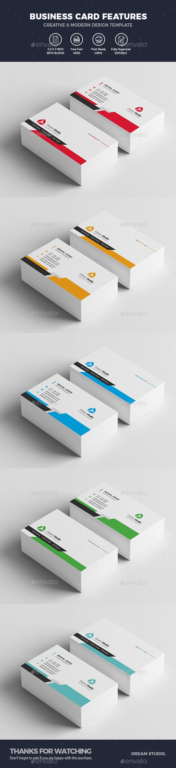 #Business #Cards - Business Cards Print Templates Download here: https://graphicriver.net/item/business-cards/19897579?ref=alena994