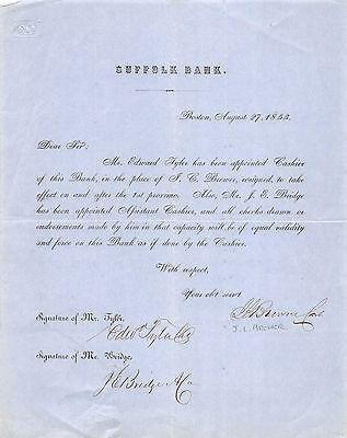 EDWARD TYLER JEREMIAH BRIDGE SUFFOLK BANK BOSTON ANTIQUE AUTOGRAPH SIGNED DOC
