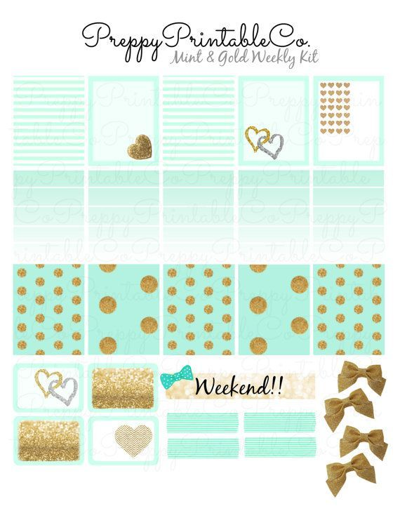 Mint & Gold Weekly Sticker Kit // Printable PDF // Perfect for Erin Condren Life Planners!!