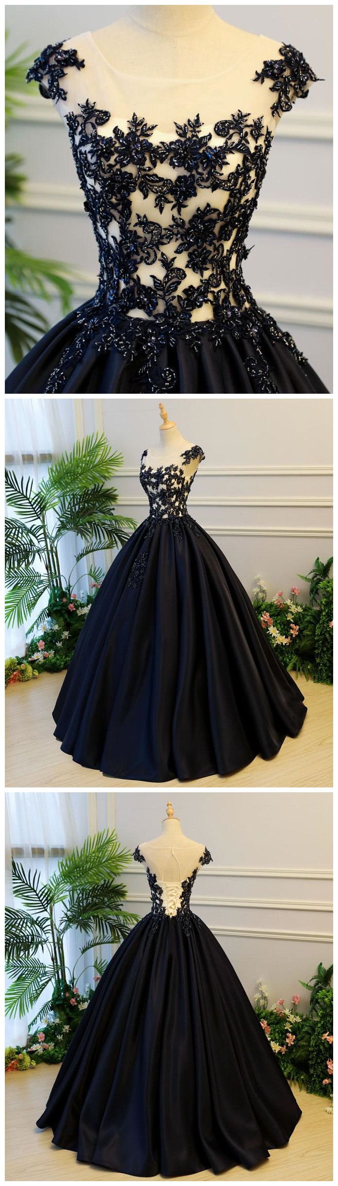 Generous A-Line Round Neck Cap Sleeves Lace-up Back Black Satin Long Prom/Evening Dress with Beading P0375 #promdresses #longpromdress #2018promdresses #fashionpromdresses #charmingpromdresses #2018newstyles #fashions #styles #hiprom #prom #ballgown #2018 #tulle