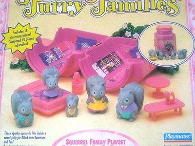 VINTAGE PLAYMATES 1993 FURRY FAMILIES SQUIRREL FAMILY JAM JAR PLAYSET MIB R@RE