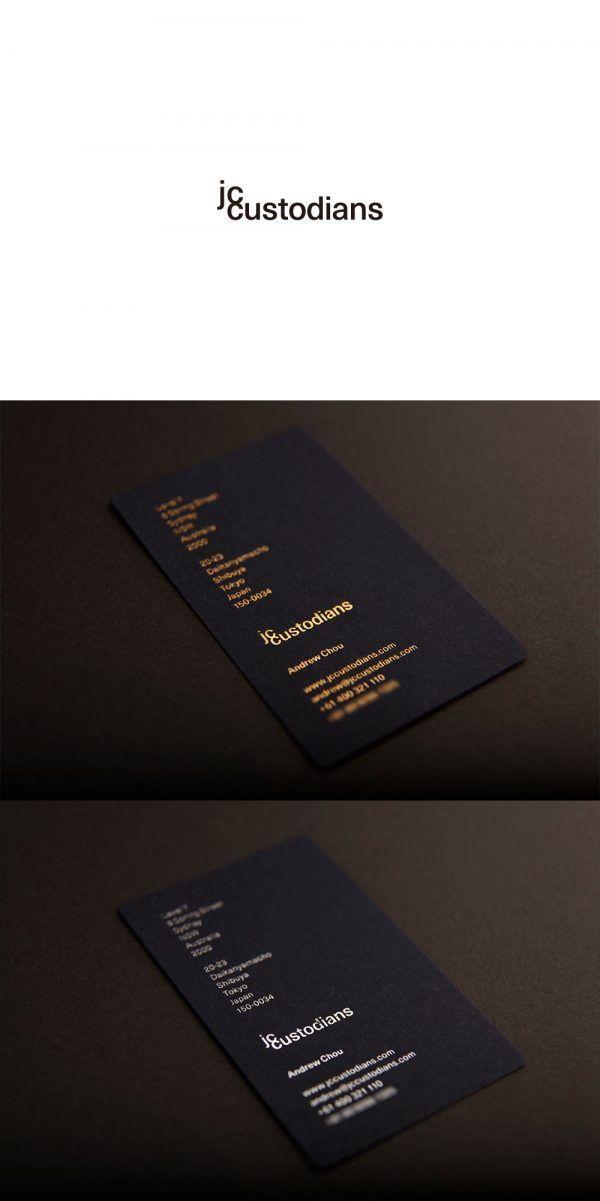jc custodians logo, business card & letterhead design art direction & design: kunitaka kawashimo date: June 11, 2015 Paper Color: Indigo (Japanese Blue) Specification: Japanese Gold & Silver Tiltling + Emboss Typeface: Sans-serif created by a Japanese Designer Design Concept: Less is More (Maximum Return with Less Investment) Design Element: Space + Typography - Simple, Unique, Modern & Different
