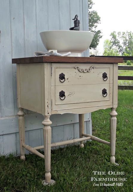 The Olde Farmhouse on Windmill Hill: Powder Room Vanity {Repurposed Sewing Cabinet} upstairs bath idea