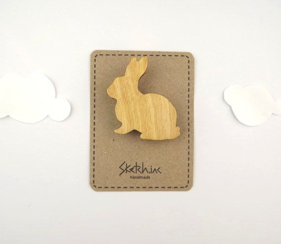 Wooden Rabbit Brooch  Plain Bunny by SketchInc on Etsy, £6.50