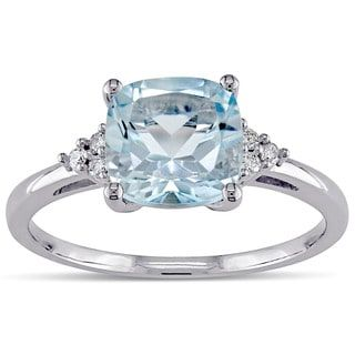 Miadora 10k White Gold Sky Blue Topaz and Diamond Accent Fashion Ring | Overstock.com Shopping - The Best Deals on Gemstone Rings