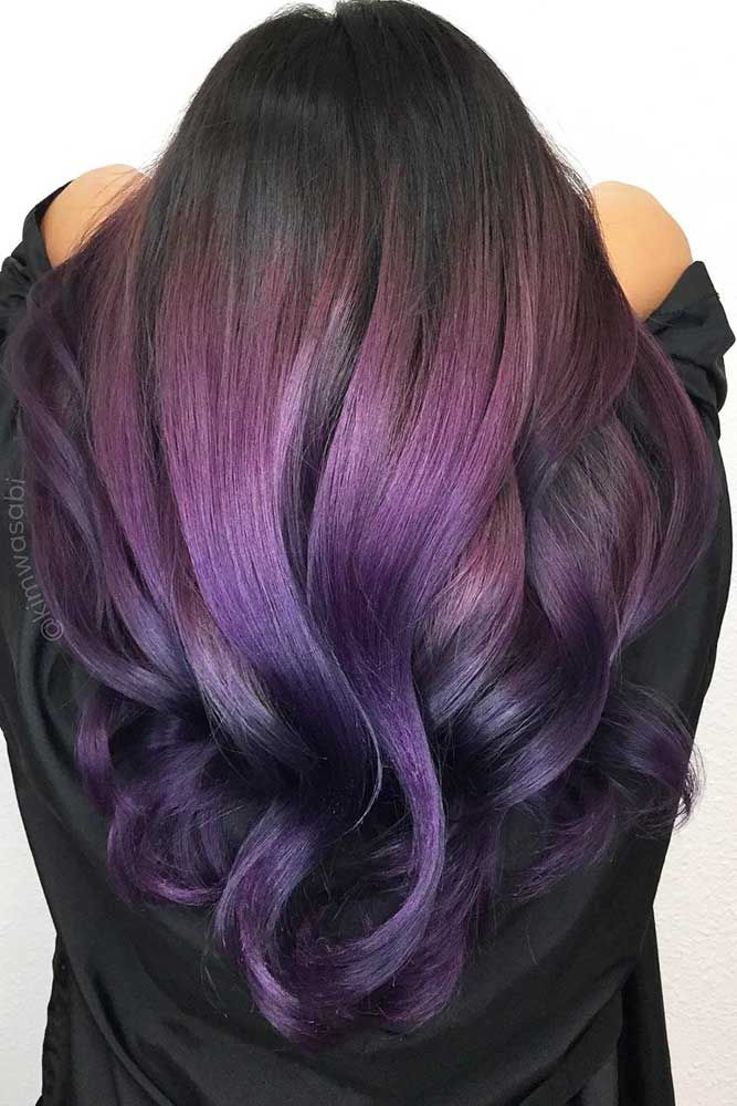 Dark purple hair is quite bold, and that is a fact. But if to compare dark purple hues with purple hues, the former are more mature and sophisticated. #haircolor #purplehair #darkpurple