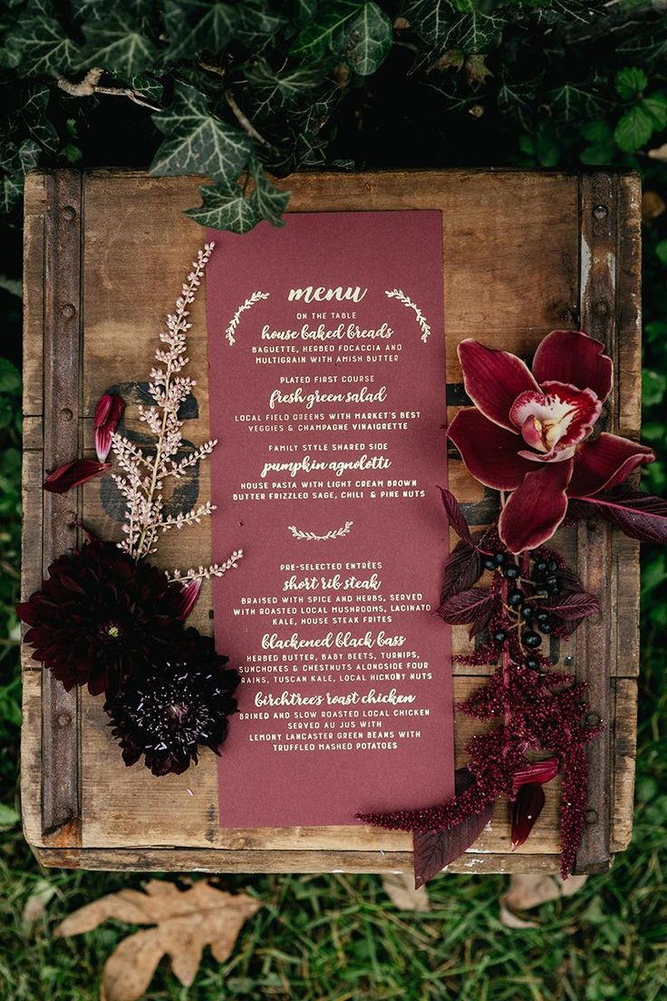 burgundy and gold wedding stationery - photo by Emily Wren Photography http://ruffledblog.com/a-burgundy-lovefest-that-youll-have-to-see-to-believe