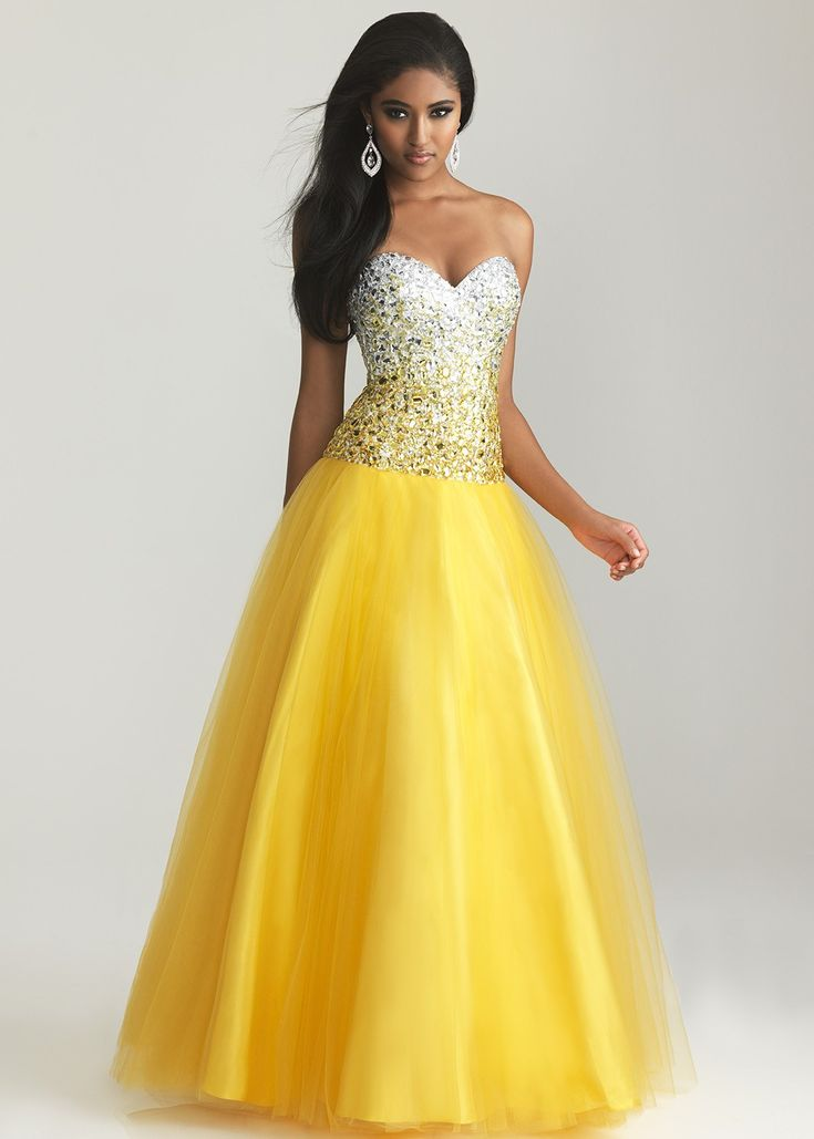 Ombre prom dress! - Night Moves 6600 - Yellow Strapless Sweetheart Ball Gown Prom Dresses - RissyRoos.com