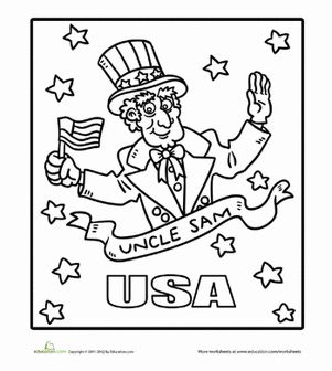 July 4th Independence Day Preschool Holiday Worksheets Uncle Sam Coloring Page