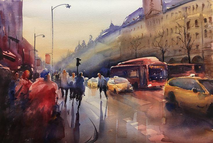 Vasagatan, Stockholm, Watercolor, Stefan Gadnell