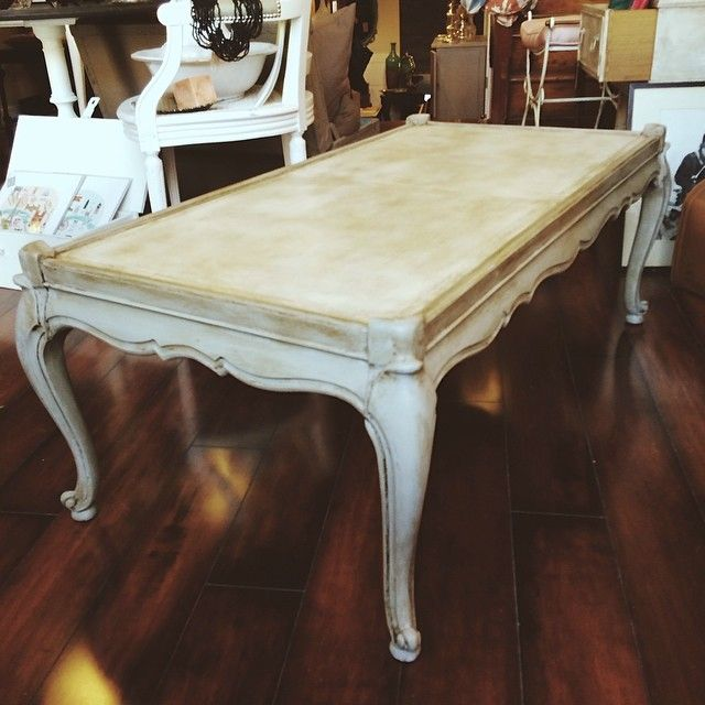 French Linen Chalk Paint Coffee Table: Vintage French Provincial Coffee Table. Chalk Paint® By