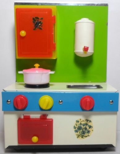 Greek vtg 60 39 s tin kitchen set with accessories unused for Kitchen set from the 90 s
