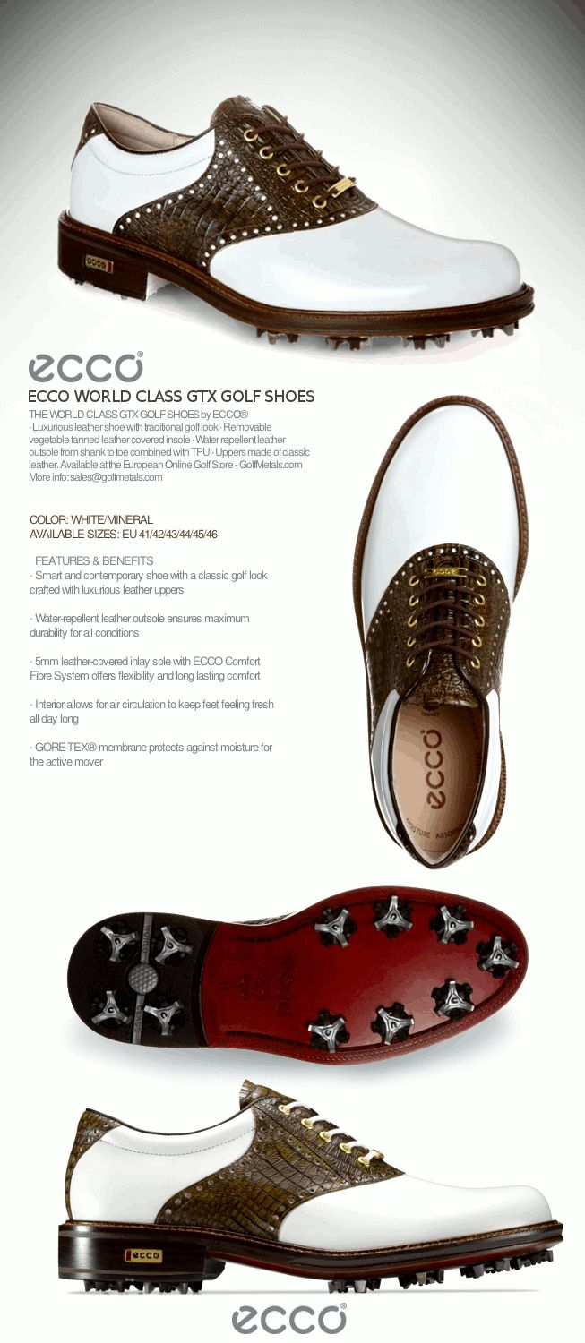 The classic World Class GTX Golf Shoes by ECCO® in color White/Coffee. Available sizes: EU 41/42/43/44/45 at the European Online Golf Store - GolfMetals.com