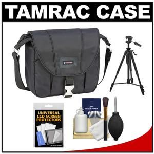 Another great product: Tamrac 5421 Aria 1 Compact / ILC Camera Shoulder Bag (Black) with Tripod + Cleaning Kit The Tamrac 5421 Aria 1 Compact / ILC Camera Shoulder Bag is made from a rich  smooth  water-resistant nylon fabric. The front flap with metal buckle closure covers the zippered main compartment while the zippered  pleated front pocket expands to hold equipment. An internal zippered pocket on the back holds other small items while an open back pocket keeps a manual ha