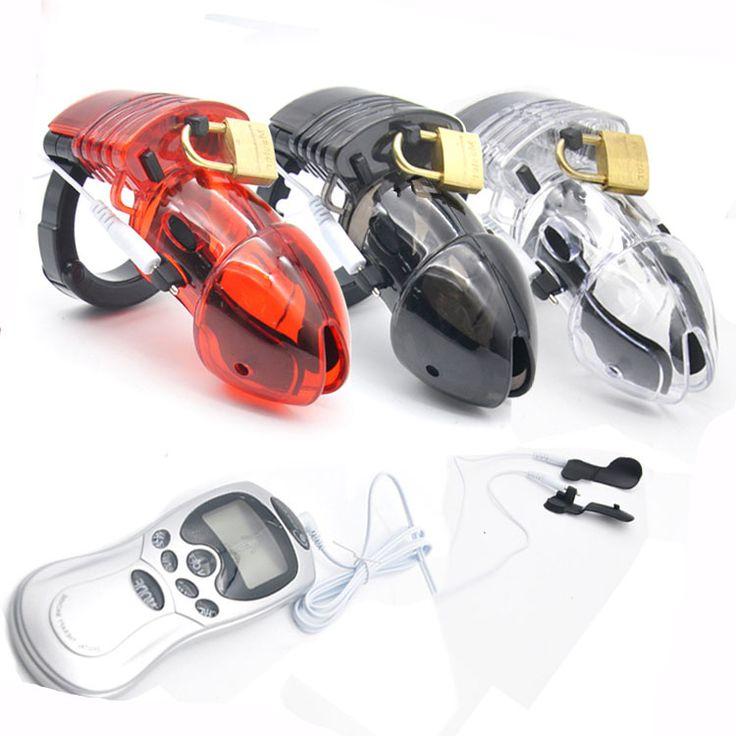Men electric shock Penis lock Cage Male Electro Chastity Device (ECB) Shock Transparent Belt Lock Plastic Device Sleeve Sex Toys