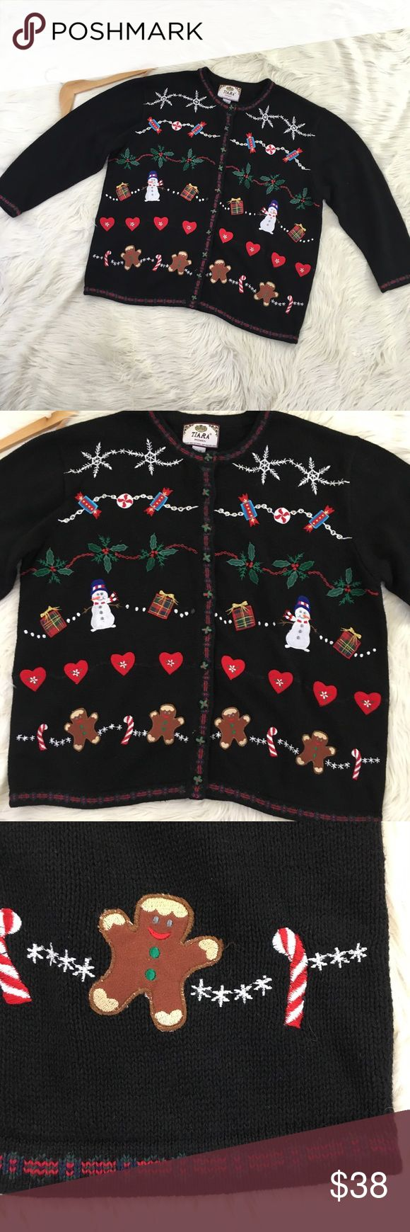 "Ugly Christmas Cardigan 14/16 Tiara International Tiara international black ramie & cotton knit button down Christmas cardigan size 14/16. A little bit of beaded embellishments, but mostly embroidered and felted : snowflakes, Christmas candy, holly leaves, Christmas presents, snowman, hearts, candy canes and gingerbread men. 🎄🎁❄️Excellent condition no flaws!    Length: 27"" Armpit to Armpit: 26"" Tiara Sweaters Cardigans"