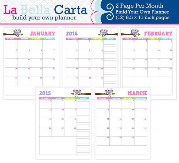 Build Your Own Planner, 2015 2 page per month Calendar, 2015 - how to create your own calendar