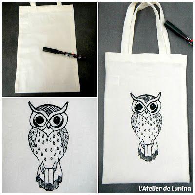Customisation de sac Tote bag sac hibou chouette - Customize owl