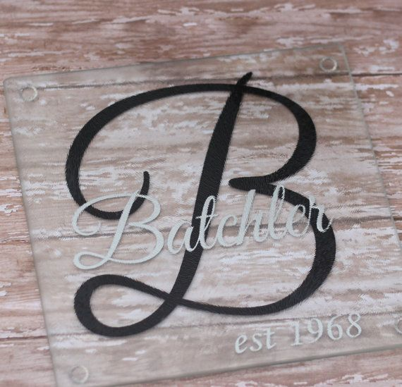Personalized Monogrammed Glass Cutting Board by TGNCreations