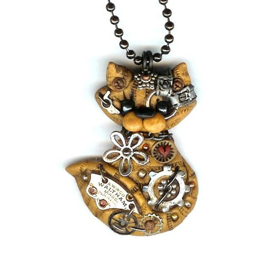 Steampunk Yellow Tabby Kitty Cat Necklace Polymer by Freeheart1