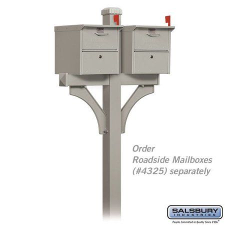 Salsbury Industries Deluxe Post, 2-Sided, In-Ground Mounted, For Designer Roadside Mailboxes, Silver