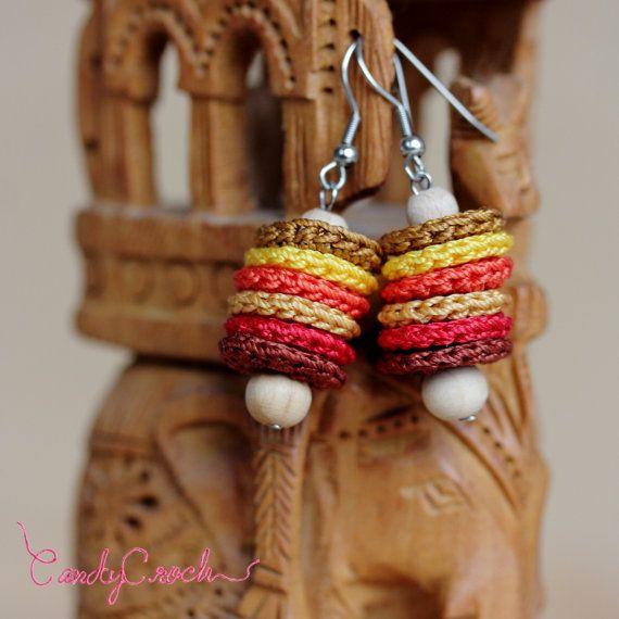 Boucles d'oreilles textile tons marron et orange, Bijou moderne coloré, Boucles inox légères et délicates, Boucles pendantes ethniques