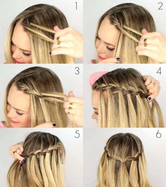 плетение кос себе пошаговые картинки как сделать так