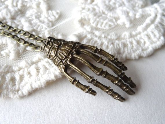 1 Skeleton Hand Necklace Antique Bronze Long by PeculiarCollective
