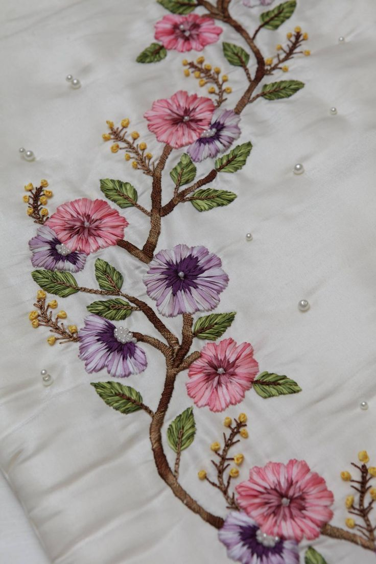 Ribbon embroidery bedspread designs - Dt Ribbon Embroidery