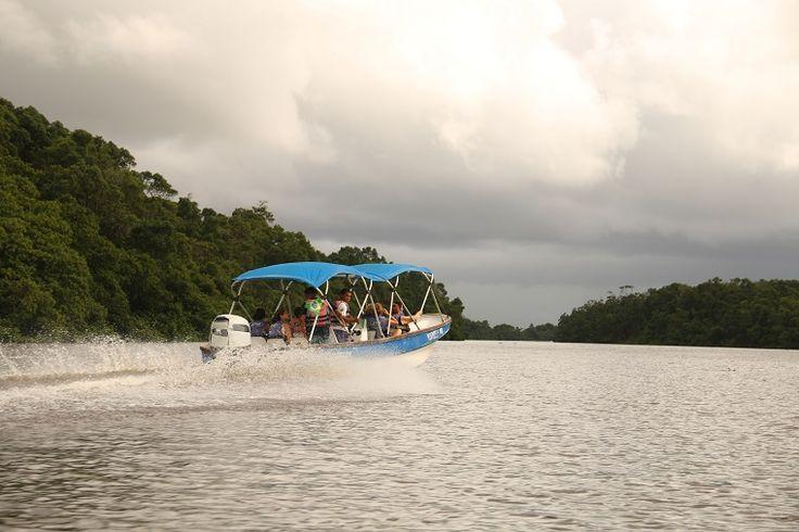 """Passeio de """"voadeira"""" pelo Rio Preguiças, às margens do Parque Nacional dos Lençóis Maranhenses, em Barreirinhas, no estado do Maranhão, Brasil.  http://www.360meridianos.com/2015/08/o-que-fazer-em-barreirinhas-no-maranhao.html"""