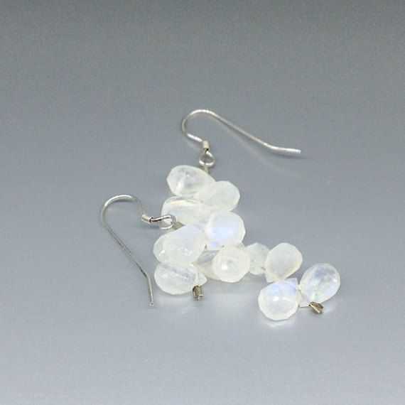 Dangle Moonstone drop earrings blue shining - gift idea by gemorydesign. Explore more products on http://gemorydesign.etsy.com